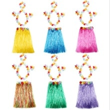 Plastic Fibers Women Grass Skirts Hula Skirt Hawaiian costumes 30CM/40/CM60CM/80cm Ladies Dress Up F