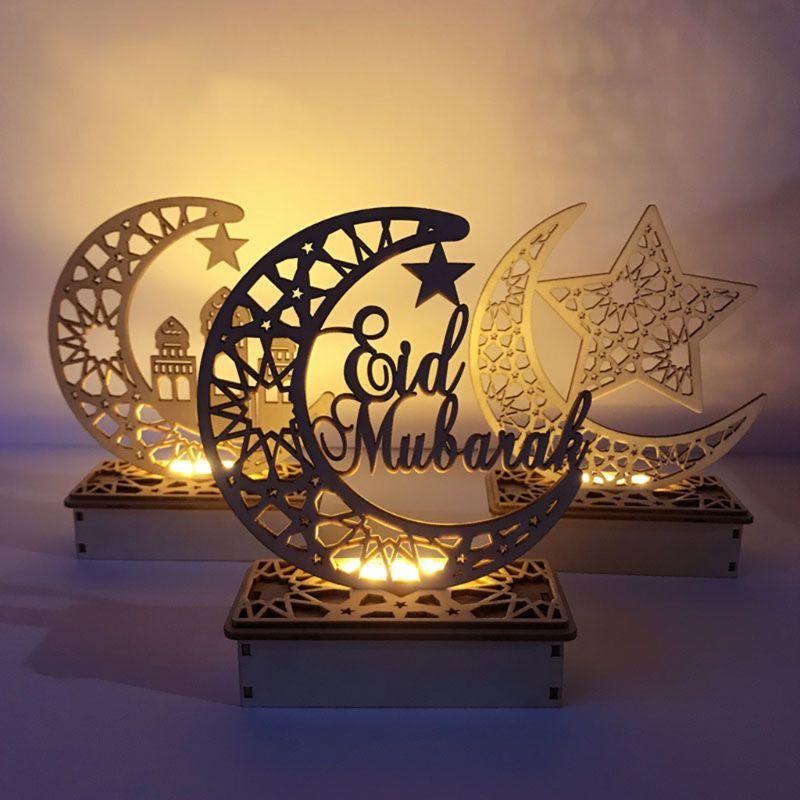 Ramadan eid mubarak decoração de madeira lua estrela islam pendurado pingente placa com led luzes da corda casa fontes de festa presente diy