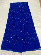5 yards/pc 멋진 로얄 블루 프랑스어 그물 레이스 원단 비즈와 크리스탈 장식 아프리카 메쉬 레이스 드레스 QN61-2