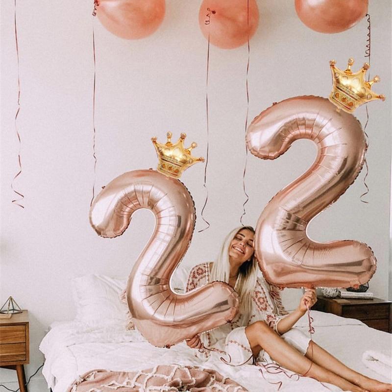 2 piezas corona de oro de 32 pulgadas con número de Globos de aire dígitos Globos para niños Baby Shower cumpleaños fiesta decoraciones los niños de juguete