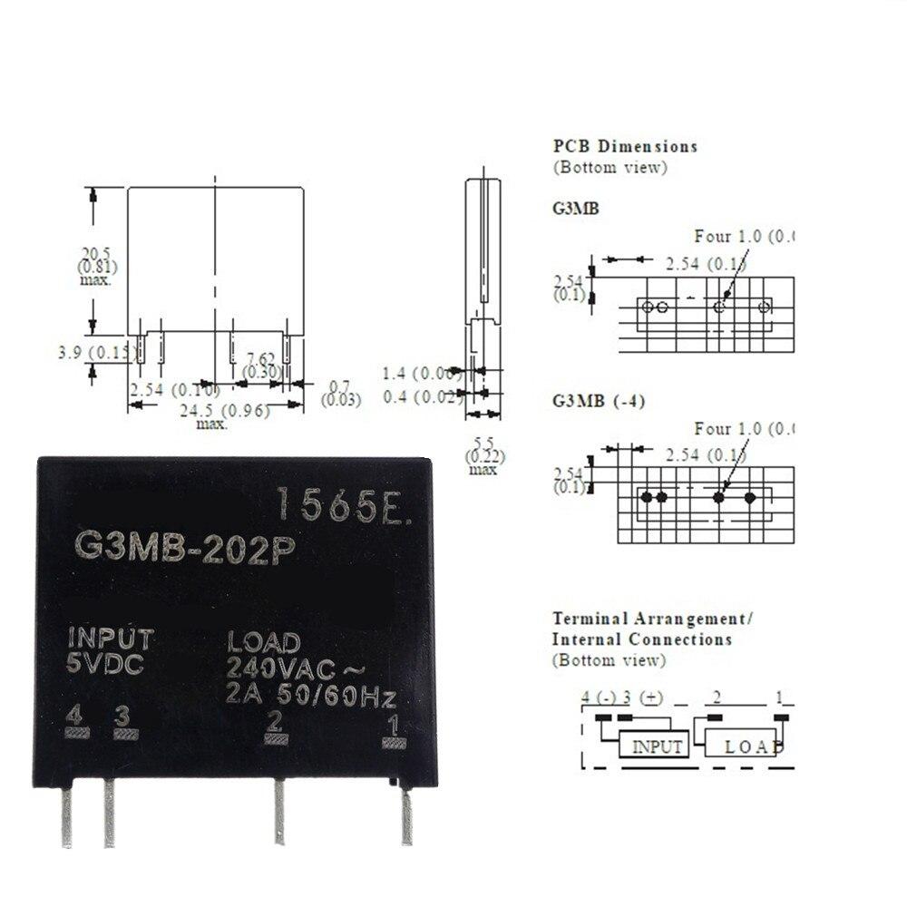 Умная электроника, новое оригинальное твердотельные реле, G3MB-202P, PCB SSR в 5 В постоянного тока, выход 240 В переменного тока 2 А