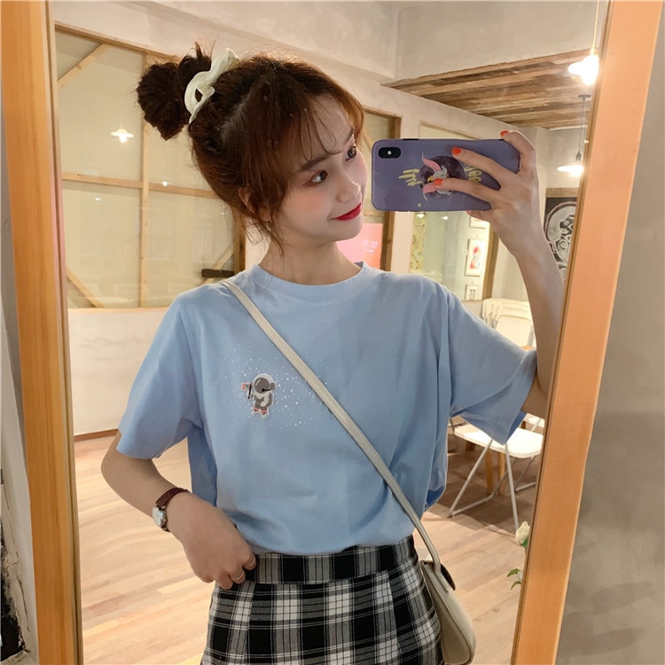 2019 algodón Harajuku estética camiseta pluma agradable dibujos animados de manga corta Tops y camisetas de moda coreana Casual Girls camiseta
