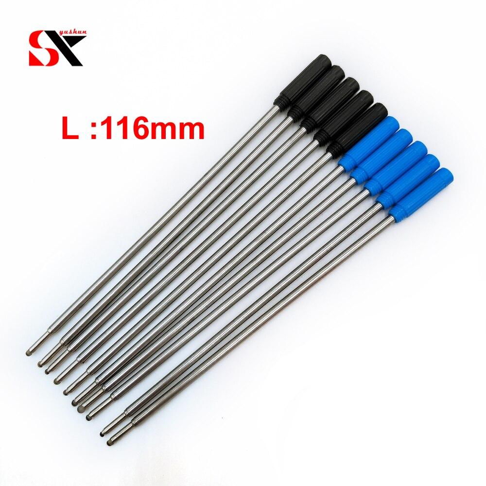 Yushun 10 Uds. Bolígrafo Universal estándar Negro Azul estilo repuesto para bolígrafo Crystal marca Metal recargas longitud 116mm aceitoso