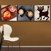 Imagen de moda decoración del hogar pared Modular 1 piezas/pcs café lienzo arte impresiones cartel sala de estar Pinturas Modernas arte
