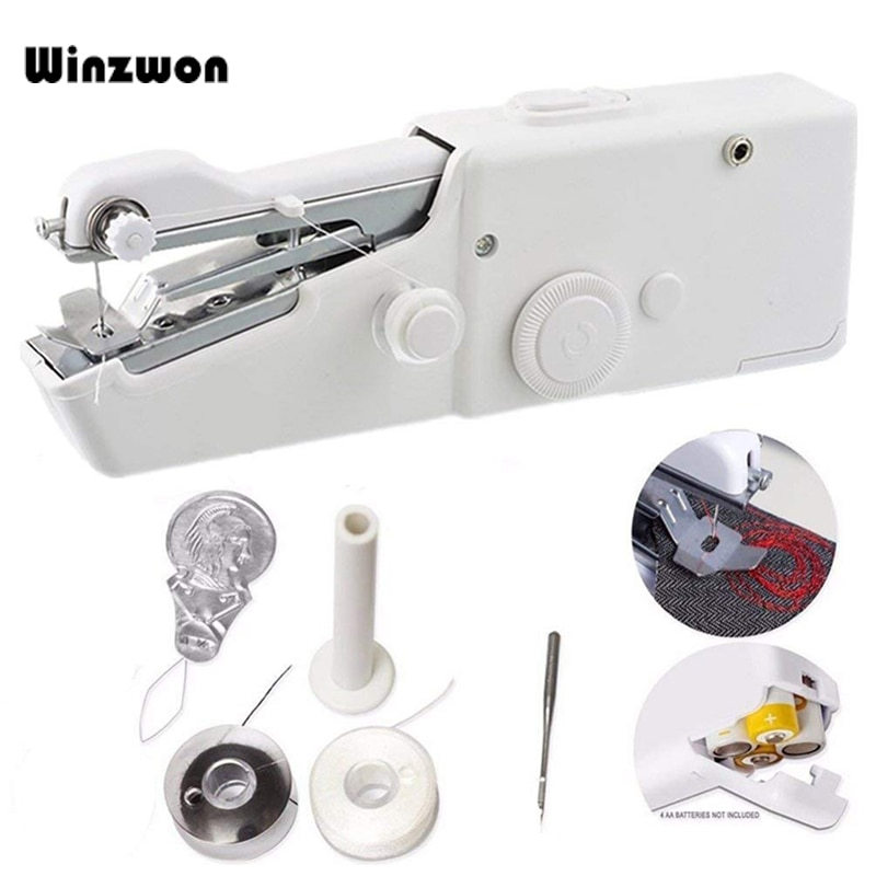 Portable Mini Hand Sewing Machine Quick Handy Stitch Sew Needlework Cordless Clothes Fabrics Household Electric Sewing Machine