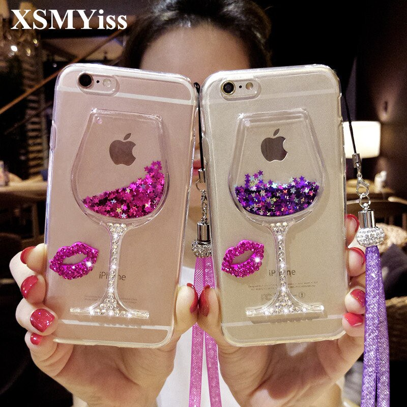 XSMYiss для iPhone XS MAX XR 5S 6S 7 8 PLUS Стразы Бриллиантовая блестящая жидкая помада для губ песок красное вино стекло быстрый песок мягкий чехол для тел...