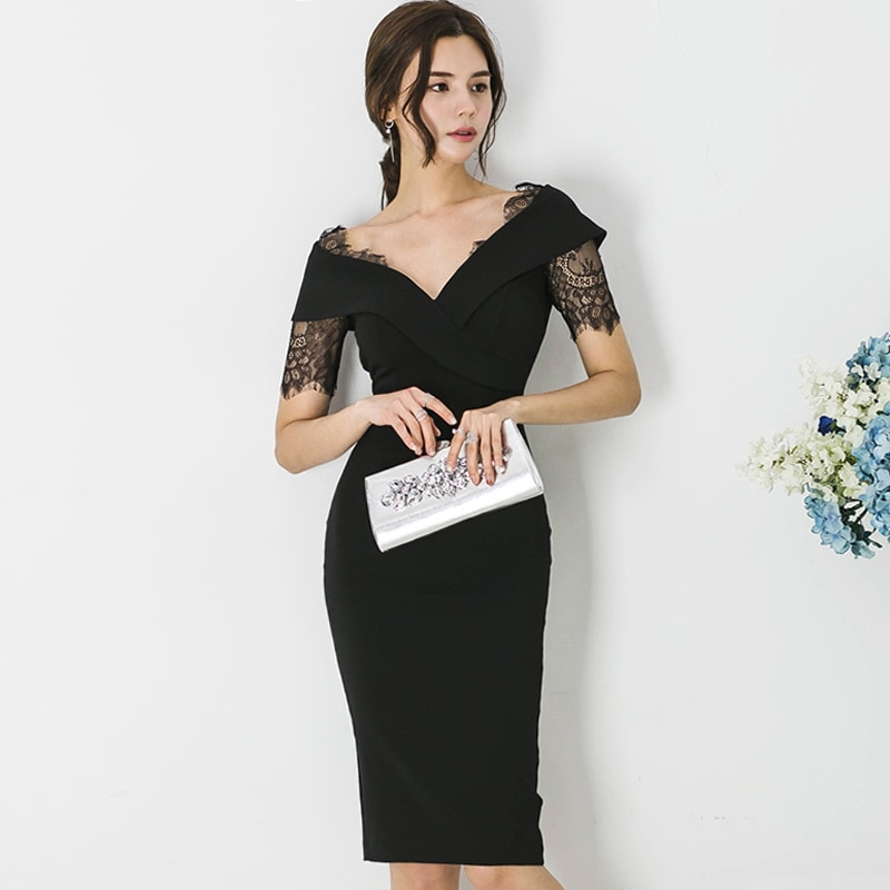 2020 Summer Lace Patchwork Black Sexy Vestidos Women Knee-Length Midi Pencil Bodycon V-Neck Office Work Dress