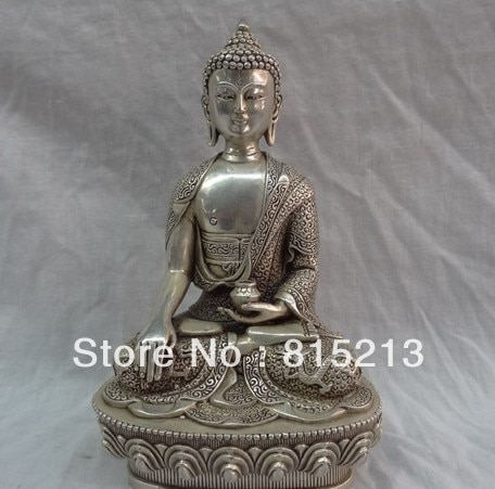 wang 000107 China Silver Sakyamuni Sculpture Tibetan Dragon Shakyamuni Buddha Bronze Statue