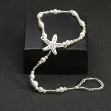 Jewdy Fashion Pearl Anklet Bohemian Single Chain Starfish Feet Ankle Jewelry Foot Bracelet for Women Beach Gifts