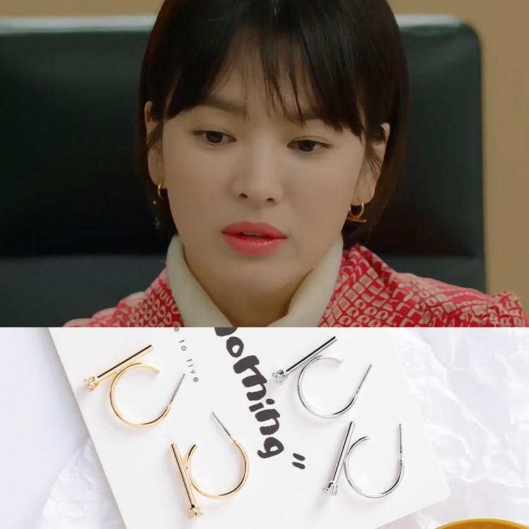 2019 nova moda feminina coreano estrela de tv metal arco círculo brincos do parafuso prisioneiro elegante zircão bonito pendientes oorbellen festa jóias presente