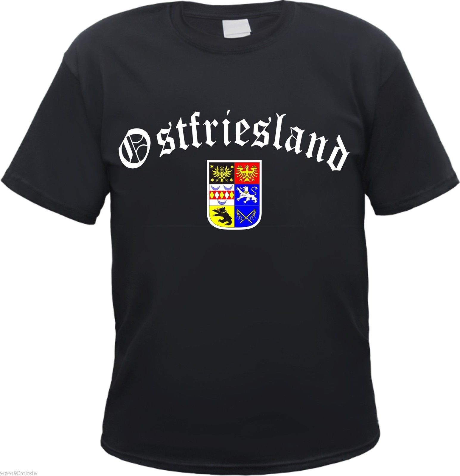 OSTFRIESLAND T-Shirt schwarz-altdeutsch/wappen-s bis 3XL-emden aurich leer