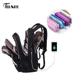 Tegaote mulheres mochilas anti roubo carga usb portátil bagpack sacos de escola para adolescentes meninas náilon casual mochila viagem sac a dos