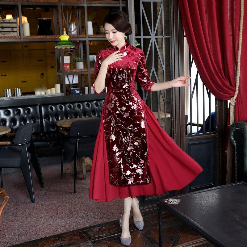 Shanghai Story Otoño Invierno 3/4 manga AoDai cheongsam vestido de terciopelo para mujer Vietnam ao daio vestido tradicional chino qipao