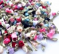 upick 50pcs 38 mini artificial flowers fancy ribbon flowers rose appliques wedding sewing ornament