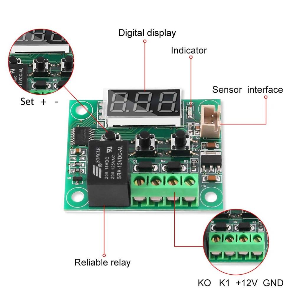 W1209 -50-100C DC 12V digital temperature controllear thermostat temperature control thermostat switch plate W1209 case