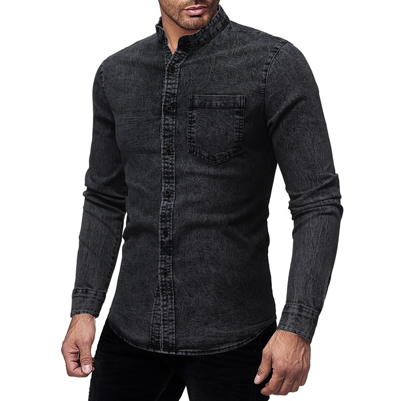 MarKyi Fashion Streetwear Men Wash Denim Jeans Shirt 2019 Autumn Long Sleeves Shirt Casual Slim Fit Denim Dress Shirts