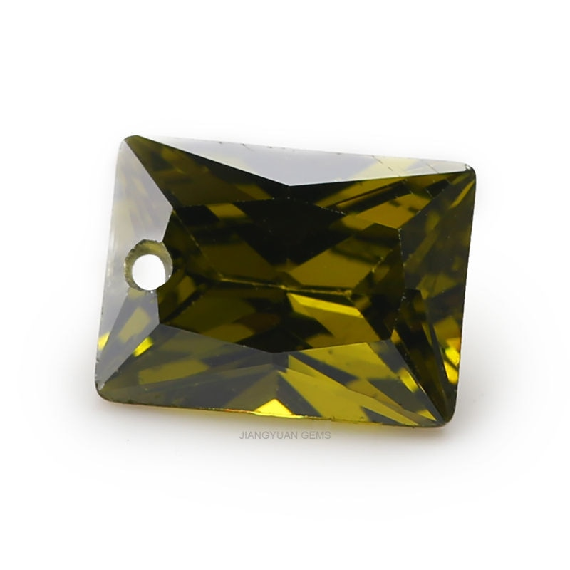6x8mm AAAAA rectángulo agujero Zirconia cúbica piedras verde oliva princesas corte CZ piedra