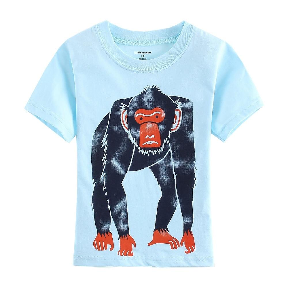 Simies Baby Boys camisetas azul mono Jersey gorila moda niños camiseta trajes verano 100% algodón camisetas niños 1-6 años