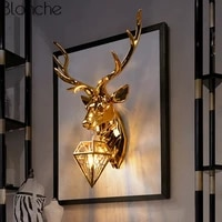 american retro wall lamp gold deer antlers wall sconce for living room bedroom bedside led home decor light luminaire fixtures