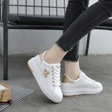Abeille broderie petite chaussure blanche femmes chaussures décontractées respirant PU cuir plate-forme chaussures doux chaussures de sport strass baskets