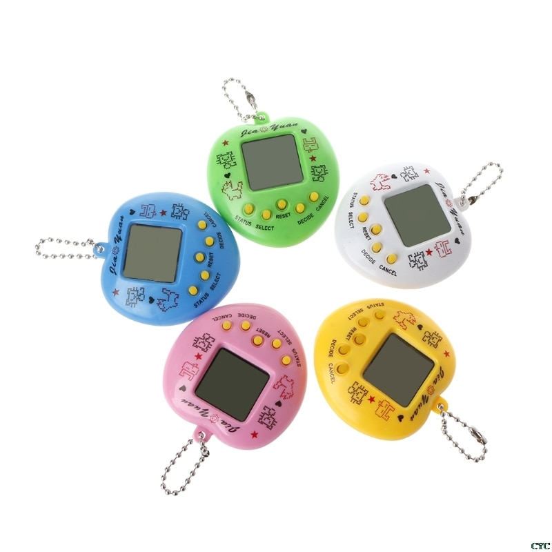 LCD Virtual Digital Pet Handheld Electronic Game Machine With Keychain Heart Shape Randomly Color