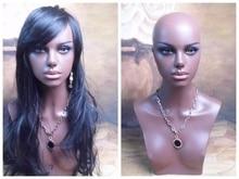 Buste Mannequin Afro-américain réaliste en fiber de verre   Tête factice de Mannequin pour femmes pour les perruques en dentelle, exposition de bijoux