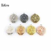 BoYuTe 10 pièces 27MM filigrane médaillon rond Photo médaillon pendentif métal laiton Vintage bijoux pendentif 7 couleurs