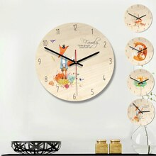 11inch Retro Creative Cartoon Wall Clock European Minimalist Wooden Decorative Clock Kids Wall Clock Home Decor Fox and Forest