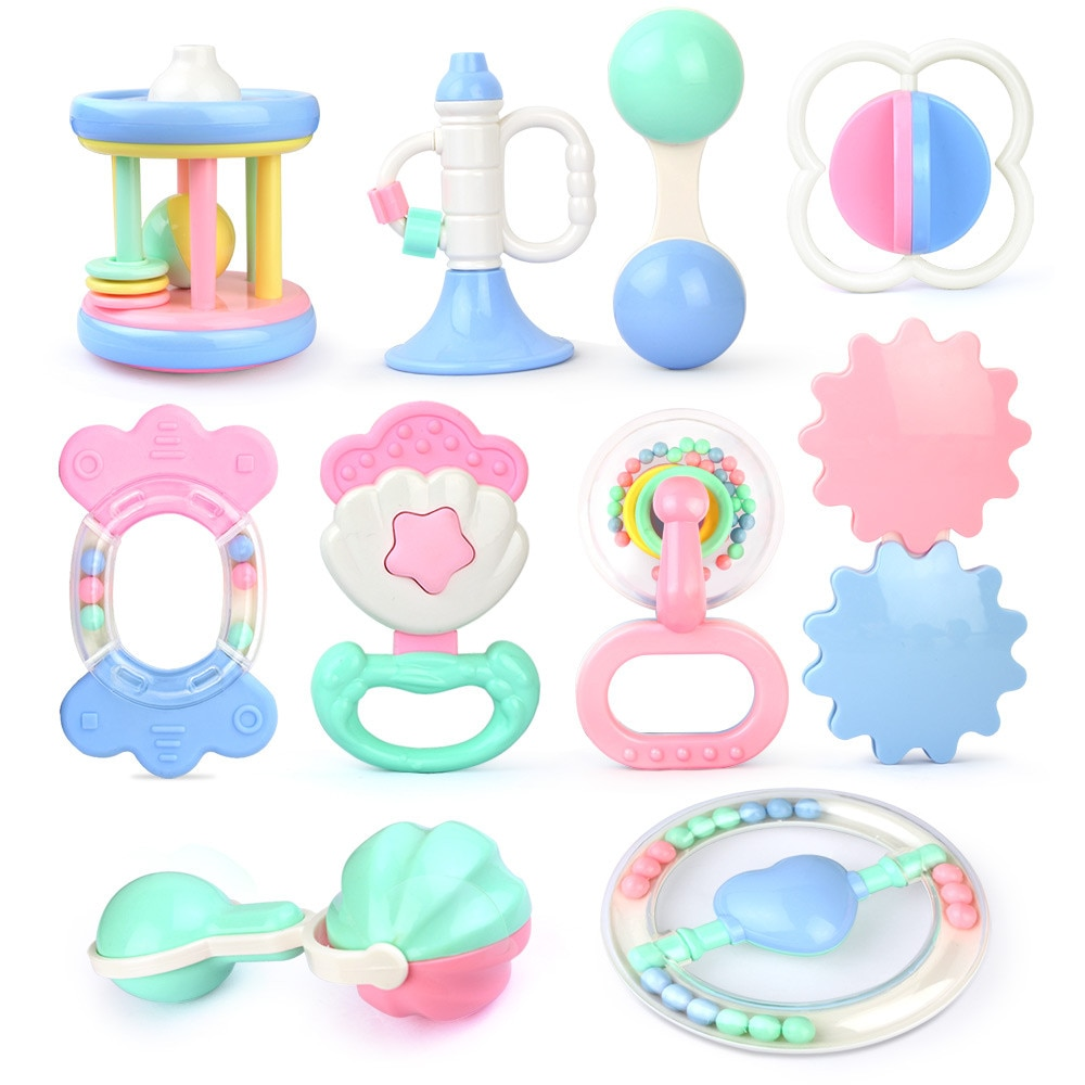 Safety  Newborn Baby Teether Toys Hand Shake Bell Ring Funny Educational Toy Baby Toys Hand Hold Jin