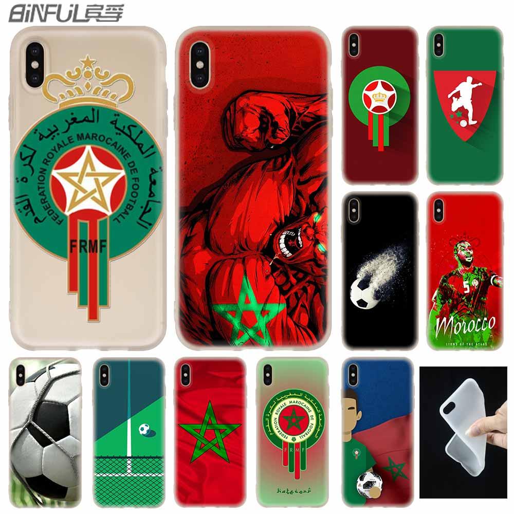 Funda de bandera de fútbol americano marroquí de silicona suave para iPhone X XS 11 Pro Max XR 6 6S 7 8 Plus 4 5S SE 9 fundas de teléfono Etui