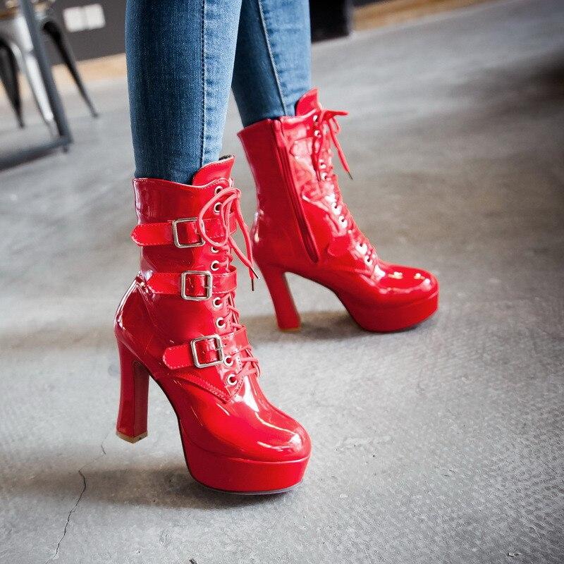 YMECHIC 2018, botas de tacón alto con hebilla de charol de Pu con cordones para motocicleta, botas de mujer con plataforma de invierno, zapatos góticos de talla grande para mujer