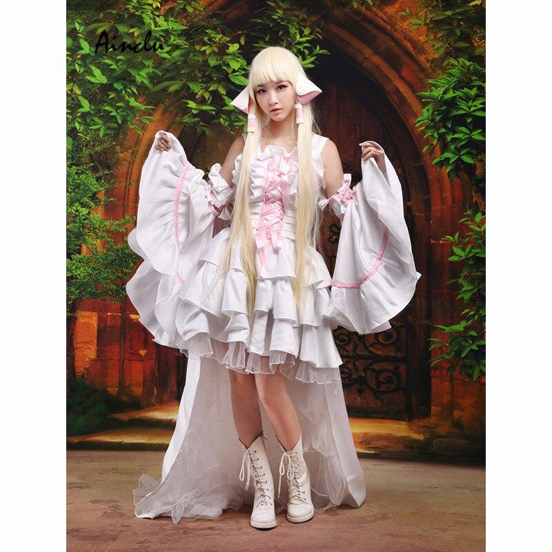Ainclu Sweet lolita vestido Cosplay Chobits Chii Cosplay Halloween Traje Branco Vestido Lolita Vestido de Halloween Para O Transporte Livre