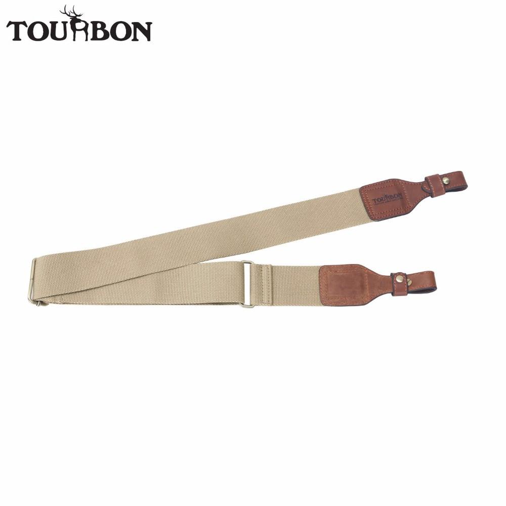 Tourbon ציד טקטי אקדח קלע חגורה עמיד עור ירי רובה כתף רצועת חום חגורה עם פליז אבזם 86-129 CM