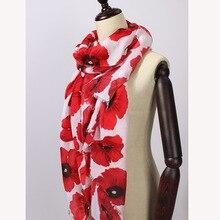 Écharpe enveloppe à imprimé de fleurs de pavot   Écharpe, accessoires pour femmes, châle, livraison gratuite, 10 pièces/lot