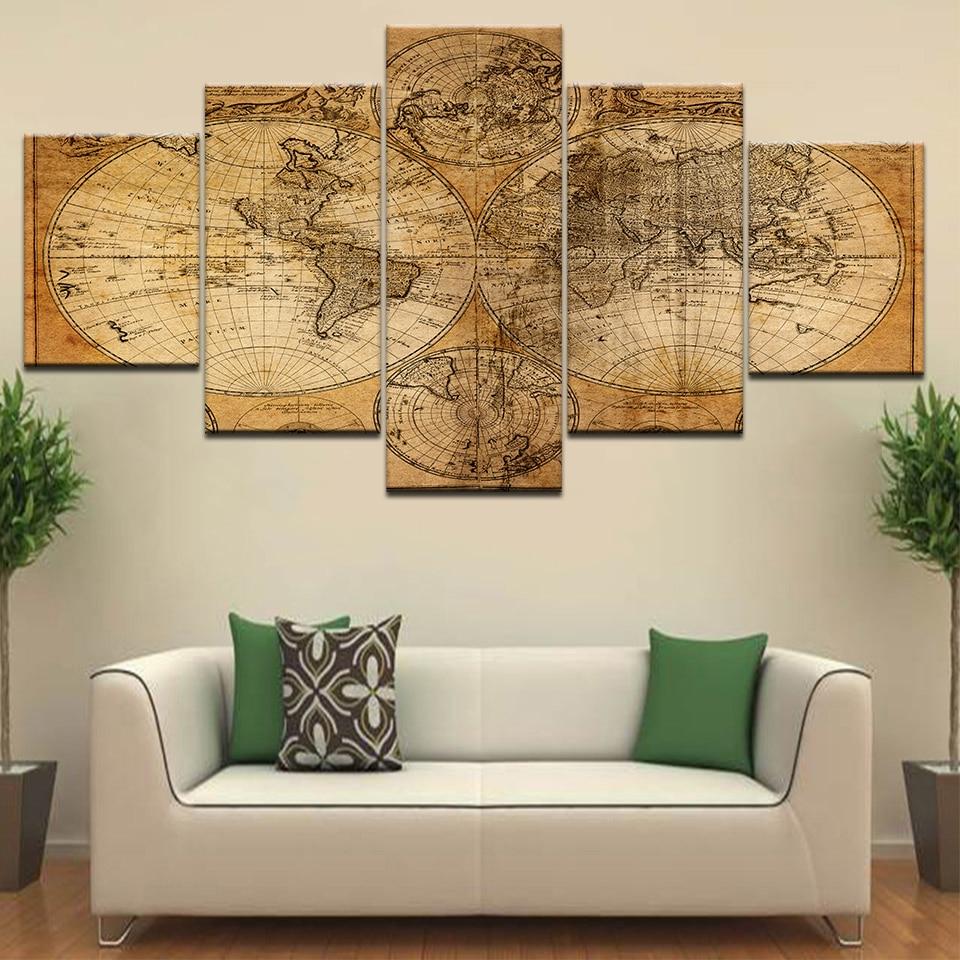 Rompecabezas del mapa del mundo del globo Vintage abstracto, pinturas al óleo en HD, lienzo impreso, arte de pared, imagen moderna para biblioteca, habitación de oficina, decoración del hogar