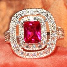 YaYI mode femmes bijoux bague rouge Zircon CZ couleur argent bagues de fiançailles anneaux de mariage anneaux de fête cadeau