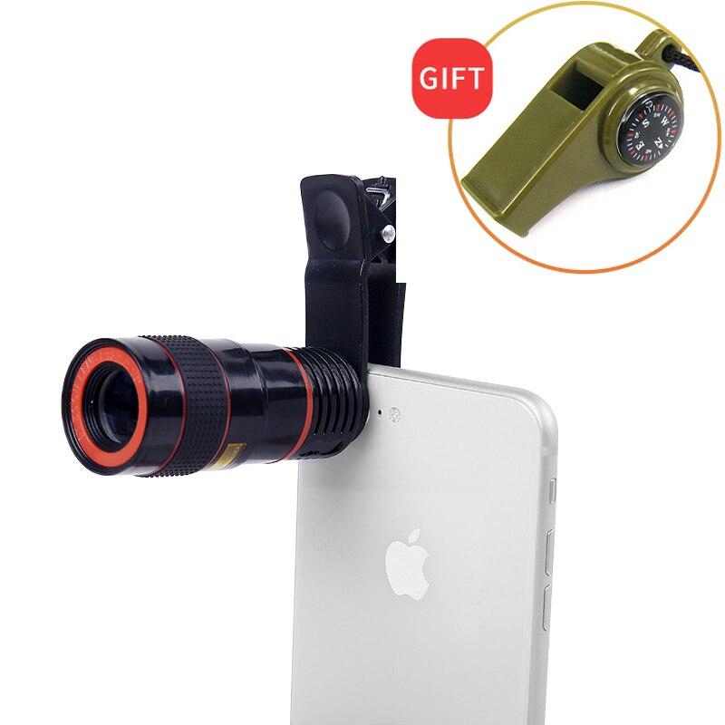 Clip-on 12x zoom móvel telescópio lente 250 m/1000 m hd diária impermeável grande angular monocular visão noturna profissional para a caça
