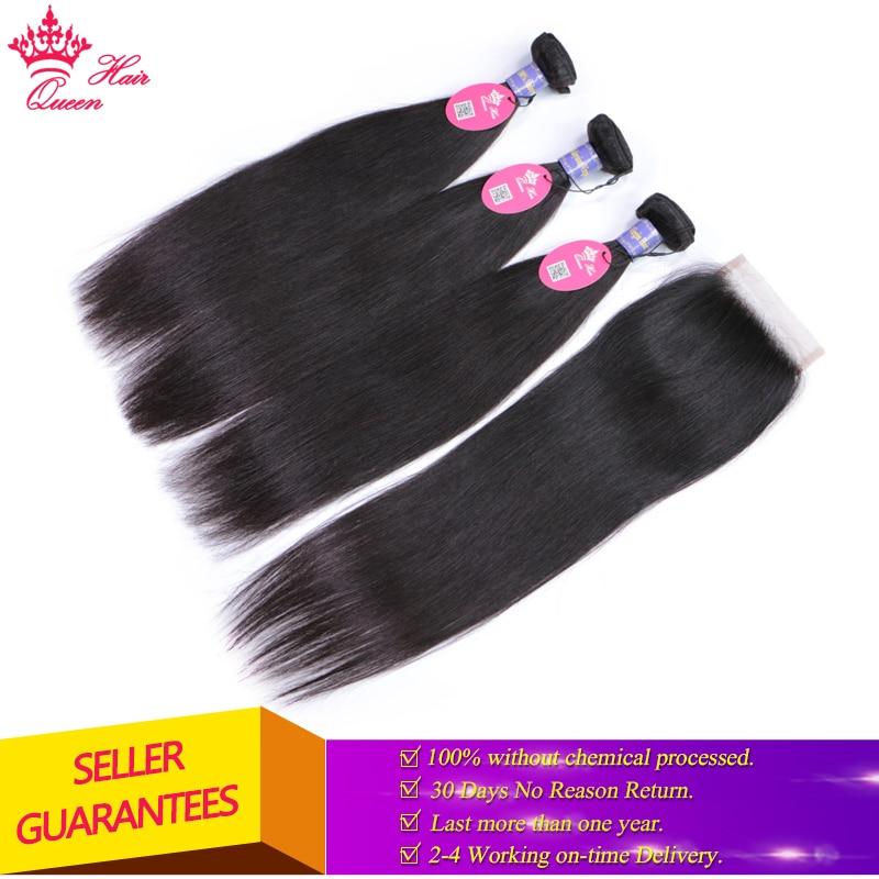 Queen Hair Products-شعر ماليزي ناعم ، شعر بشري بكر ، إغلاق ، يمكن الاختيار من بينها