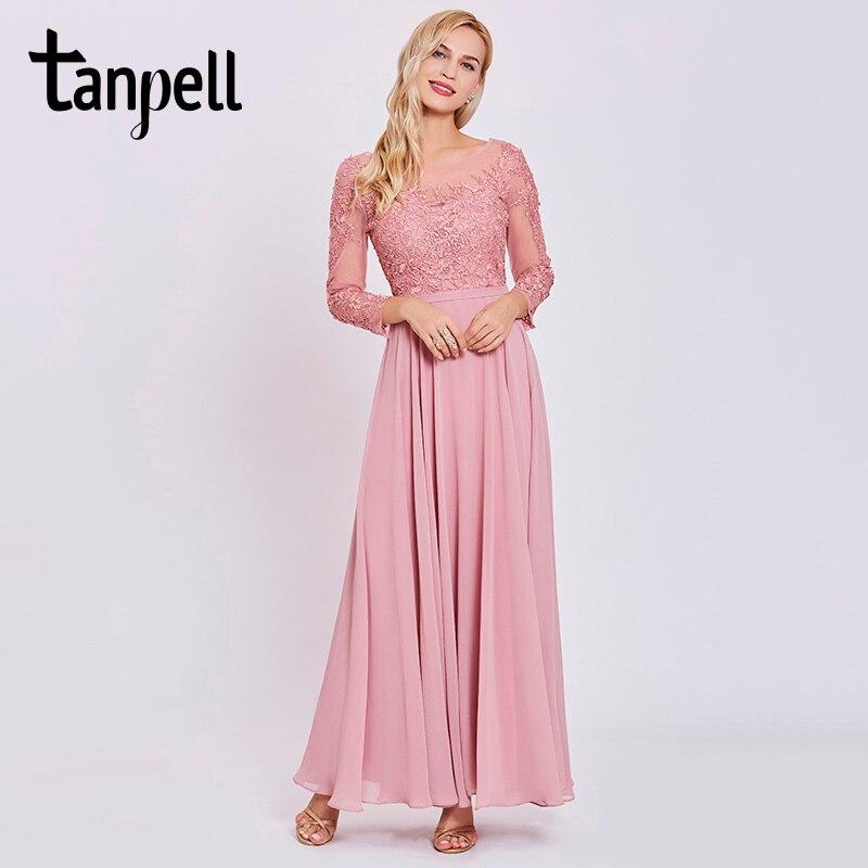 Tanpell-فستان حفلة وردي طويل ، أكمام طويلة ، طول الأرض ، a-line ، رخيصة ، النساء ، يزين ، الظهر ، الدانتيل متابعة ، ثوب الكرة