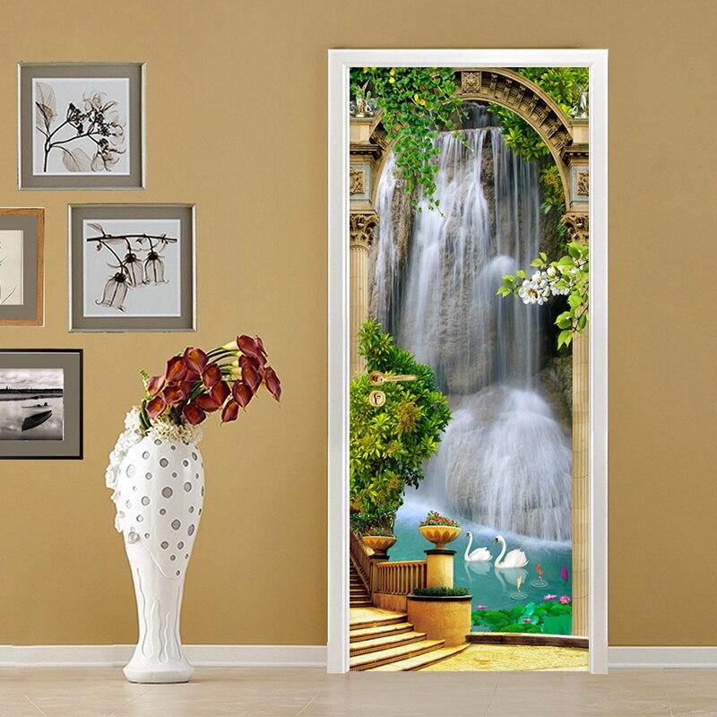 3D clásico papel tapiz cascadas jardín foto Mural puerta pegatina salón dormitorio PVC impermeable DIY murales puerta pegatinas
