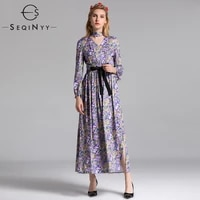 seqinyy sexy dresses 2018 early autumn fashion womans new long sleeve sashes printed vintage v neck ankle lnegth a line dresses