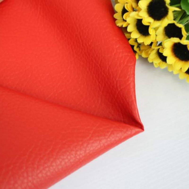 Tela estampada de cuero de imitación de grano Litchi, tela de tapicería de cuero rojo, tela de Patchwork de costura DIY, Material de colcha, decoración textil