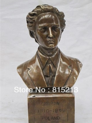 "Envío Libre bi00512 9 ""Western Art Bronce estatua Fryderyk Franciszek Chopin Piano Virtuoso pianista"