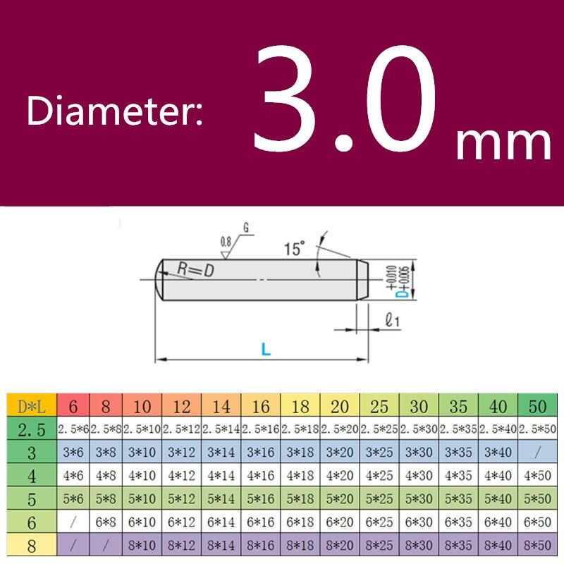 Цилиндрический штифт, штифт, твердый штифт, оптическая ось, игольчатый роликовый шариковый подшипник, диаметр 10 шт., 3,0 мм