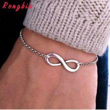 Fashion Gold Silver color Chain Luck Infinite Charm Bracelet Women Bracelets For Women pulseira feminina pulsera pulseras Simple
