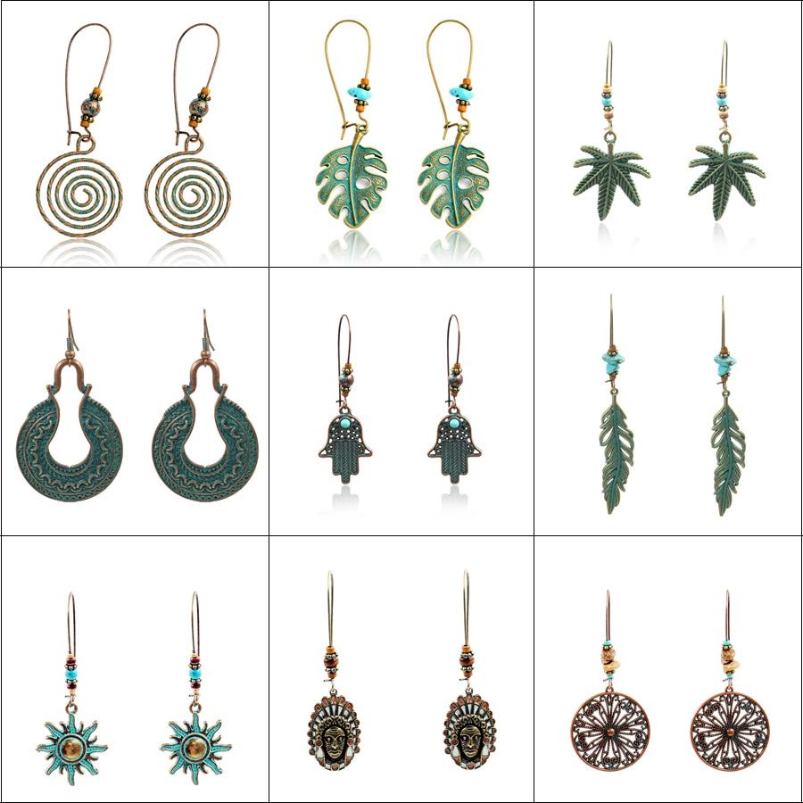 Brincos do vintage para as mulheres espiral de metal folhas indianas palma da folha pendurado balançar brincos brincos gota bohemia brincos oorbellen