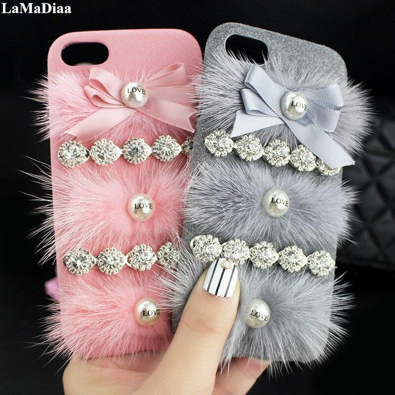 Para iphone 11 p ro max 6 6 s 7 8 x xs max xr luxo bonito moda exclusivo diamante personalizar nome pessoal pele de coelho macio caso