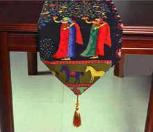 Tisch Läufer Bestickte Einfachheit Moderne Klassische von Typ Stil Schwarz Bodhi Baum Bett Runner Baumwolle LinenPastoral