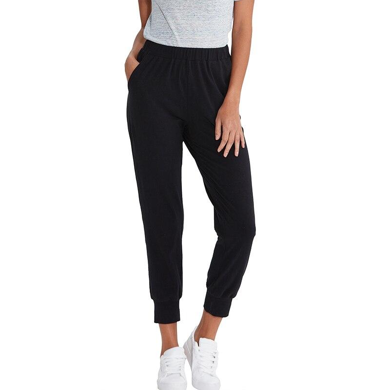 Coton femmes pantalons décontracté couleur unie noir blanc bleu gris dames pantalons de course avec poches M30175