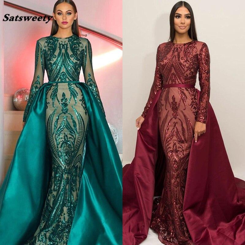 Arabia Saudita manga larga sirena vestidos de noche 2020 Dubai Kaftan musulmán tejido verde oscuro brillante vestidos formales de fiesta de graduación